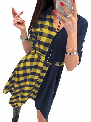 YOINS Womens Plaid Dress Jumper T Shirt Check Dresses for Women Long Sleeve Tartan Cocktail Dresses with Pocket A~red S