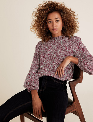Marks and Spencer Ditsy Floral Frill Neck Long Sleeve Blouse