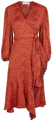 Chloé Red Floral-jacquard Satin Wrap Dress