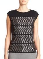 Escada Metallic-Weave Knit Shell