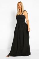 boohoo Plus Woven Shirred Maxi Dress