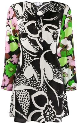Rixo Silk Abstract Print Dress