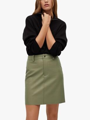 MANGO Faux Leather Mini Skirt, Green