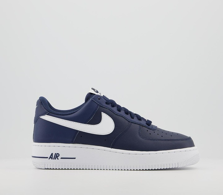 Nike Air Force One Trainers Navy White Leather