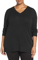 Sejour Plus Size Women's Wool & Cashmere V-Neck Sweater