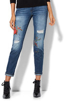 New York & Co. Soho Jeans - Tattooed Destroyed Boyfriend - Medium Blue Wash