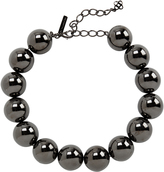 Oscar de la Renta Gunmetal Beaded Necklace