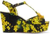 Dolce & Gabbana Embellished printed matelassé wedge sandals