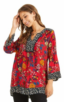 SONJA BETRO Women's Floral Printed Cotton Notch Neck Tunic Top Blouse 102RED/BLACK Print Small