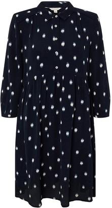 Monsoon Dakota Dot Print Sustainable Short Dress - Navy