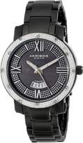 Akribos XXIV Women's AK507BK Diamond Accented Swiss Quartz Black Stainless Steel Bracelet Watch