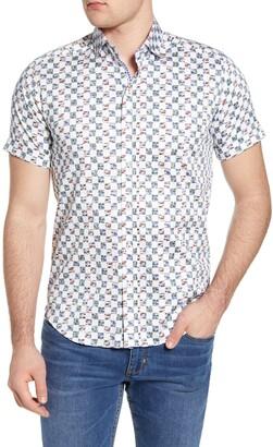 Robert Graham Racing Flags Regular Fit Short Sleeve Button-Up Shirt