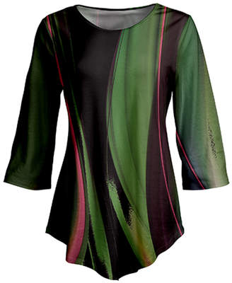 Lily Women's Tunics GRN - Green & Black Abstract Curved-Hem Tunic - Women & Plus