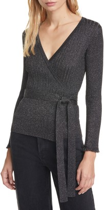 Diane von Furstenberg Beck Metallic Detail Long Sleeve Wool Blend Wrap Sweater