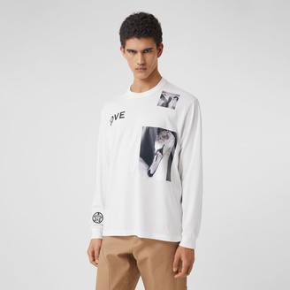 Burberry ong-seeve Montage Print Cotton Top