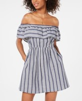 Speechless Juniors' Striped Off-The-Shoulder Fit & Flare Dress