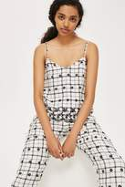 Window pane embroidered camisole top