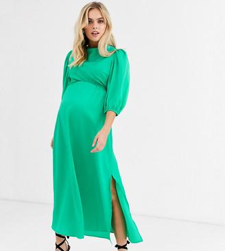 Asos DESIGN Maternity cowl neck satin tea midi dress with puff sleeve-Green