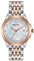 Bulova Ladies Diamond Women's Quartz Watch with White Dial Analogue Display and Silver Stainless Steel Bracelet 98S162