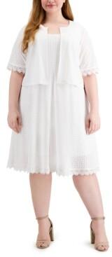 Robbie Bee Plus Size 2-Pc. Cropped Eyelet Jacket & Dress Set