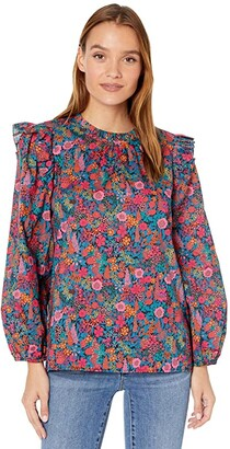 J.Crew Ruffle Sleeve Top (Red/Blue Multi) Women's Clothing