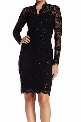 Marina Women's Long-Sleeve Lace Sequin Dress