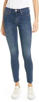 Frame Le Skinny de Jeanne Slit Rivet Raw Hem Ankle Jeans