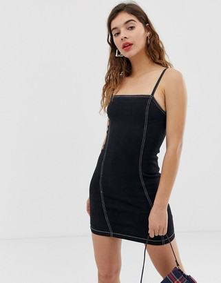 Noisy May denim cami dress with contrast stitching-Black