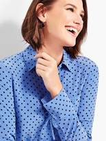Talbots Washable Silk Camp Shirt-Dot-Print