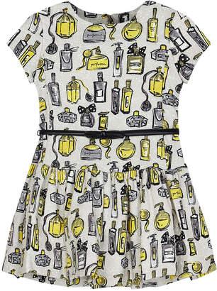 Mayoral Girl's Perfume Bottle Print Dress w/ Belt, Size 4-7