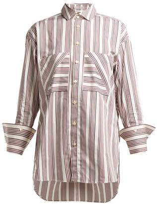 Palmer Harding Palmer//Harding Palmer//harding - Boyfriend Striped Cotton Poplin Shirt - Womens - Red White