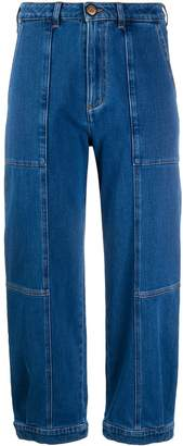 See by Chloe Cropped Patchwork Jeans