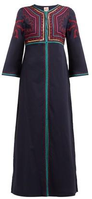 Le Sirenuse Le Sirenuse, Positano - Vanessa Embroidered Cotton Maxi Dress - Womens - Blue Multi