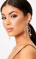 PrettyLittleThing Verie Gold Dangle Crosses Hoop Earrings