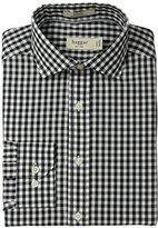 Haggar Men's Gingham Fancy Poplin Long-Sleeve Fitted Shirt