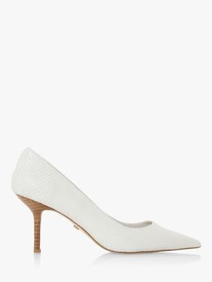 Dune Annalie Stiletto Heel Textured Court Shoes, White Reptile