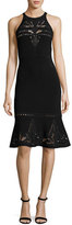Elie Tahari Lauren Sleeveless Lace-Trim Sweater Dress
