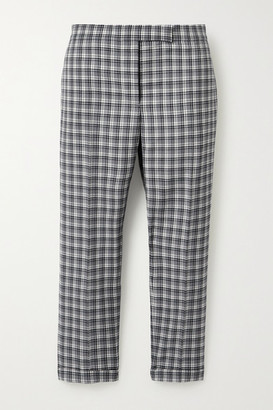 Thom Browne Cropped Checked Wool Slim-leg Pants - Gray