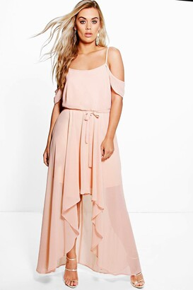 boohoo Plus Chiffon Frill Open Shoulder Dress