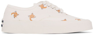 MAISON KITSUNÉ White All Over Fox Laced Sneakers