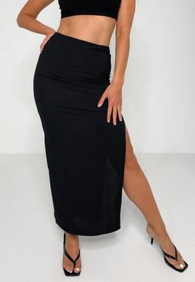Missguided Black Rib Side Split Maxi Skirt