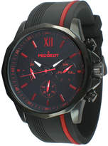 Peugeot Mens Black and Red Silicone Strap Sport Watch 2046BRD