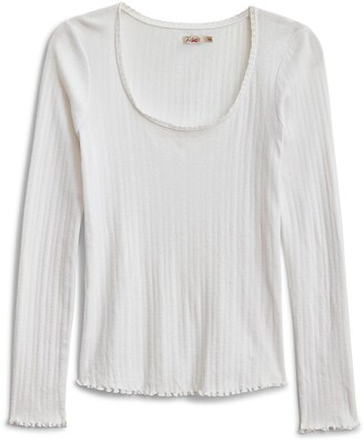 Faherty Pisa Pointelle Long Sleeve Top