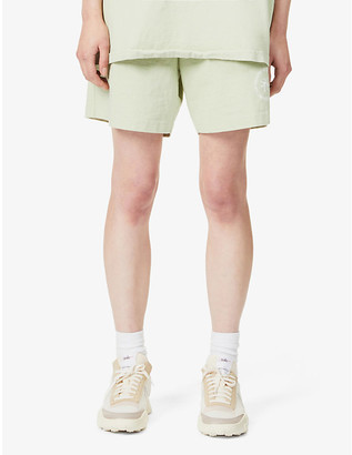 Sporty & Rich Branded-print high-rise cotton-jersey shorts