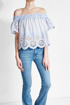 Sea Cotton Blouse with Cut-Out Detail