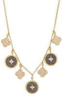 Freida Rothman 14K Gold Plated Sterling Silver CZ Pave Clover Fringe Necklace