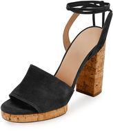 Valentino Garavani Erin B. Suede Block-Heel Sandal