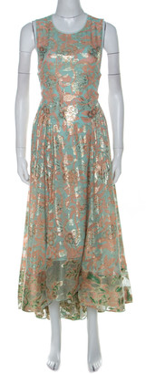 Tory Burch Metallic Fil Coupe and Silk Lisa Cocktail Dress S