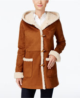 Jones New York Hooded Faux-Shearling Toggle Coat