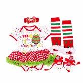 DQdq Baby Girls' Tutu Dress My First Christmas Trees Costume 4PCS Clothing Set